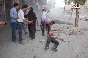 من ضحايا القصف الذي استهدف بستان القصر-والصورة من مركز حلب الإعلامي