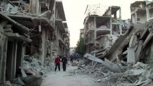 أكثر من 60% من سورية لن تجري فيها انتخابات، إما لأن الأحياء دمّرت(كما في هذا الحي في حمص-والصورة بتاريخ 29/11/2012)، أو لأنها لا تخضع لسيطرة الحكومة أصلاً