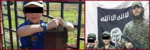 خالد شروف مع أبنائه، وعلى اليسار يظهر ابنه ذو السبعة أعوام وهو يحمل رأس أحد الضحايا، والذي يعتقد أنه من المعارضين لنظام الأسد