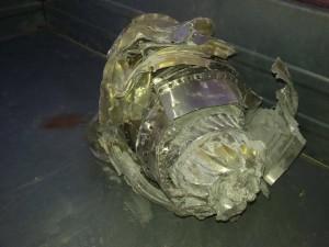بقايا إحدى القنابل التي استخدمت في الغارة على كفردريان