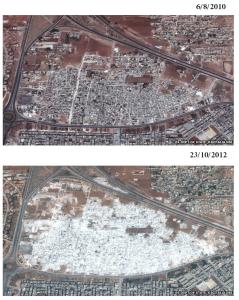 حي مشاع الأربعين في حماة كما يبدو في صورتين فضائيتين بين عامي 2010 و2012 الصور من UNITAR