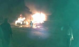 الدفاع المدني يحاول إطفاء الحرائق الناتجة عن الغارات