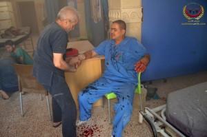 أصيب فني التخدير أحمد السعيد نتيجة للغارة التي استهدفت مشفى الشهيد محمد بظ