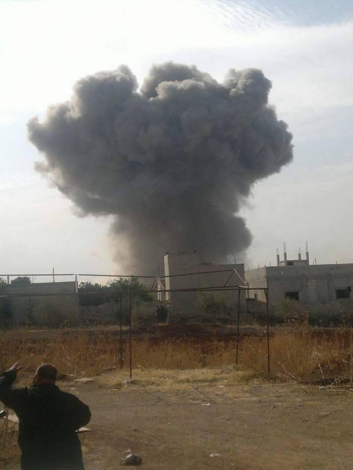 سقوط أحد الصواريخ الروسية على مدينة اللطامنة هذا اليوم