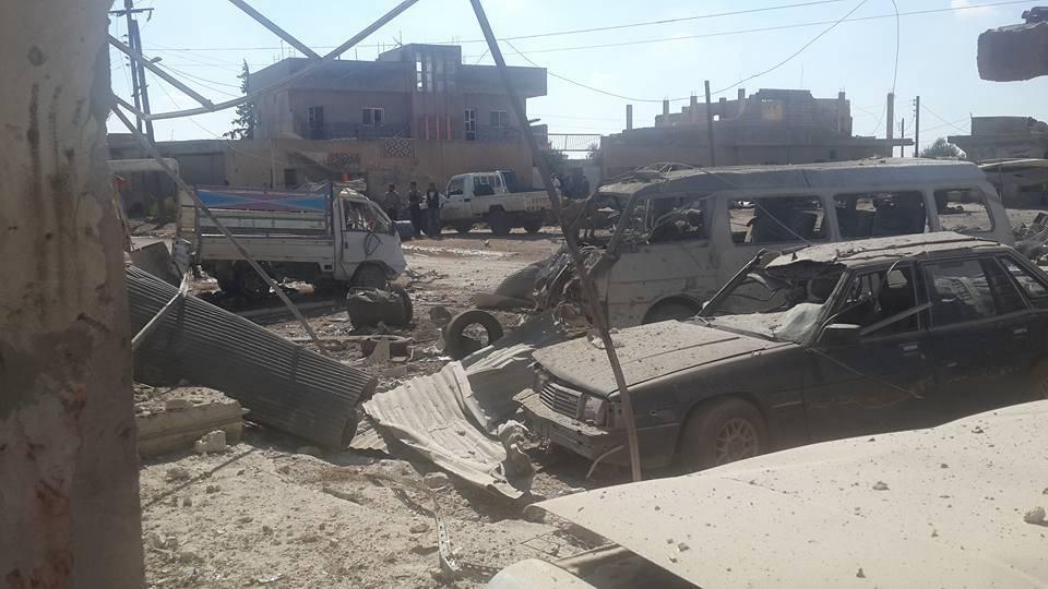 من آثار استهداف مدينة نمر بالبراميل المتفجرة