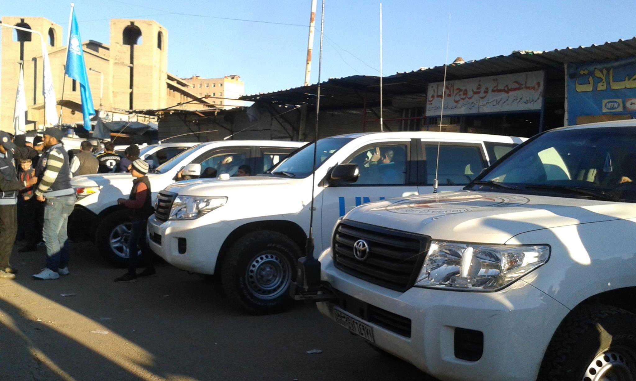 وصل وفد من الأمم المتحدة إلى الوعر قبل وصول قافلة الإغاثة