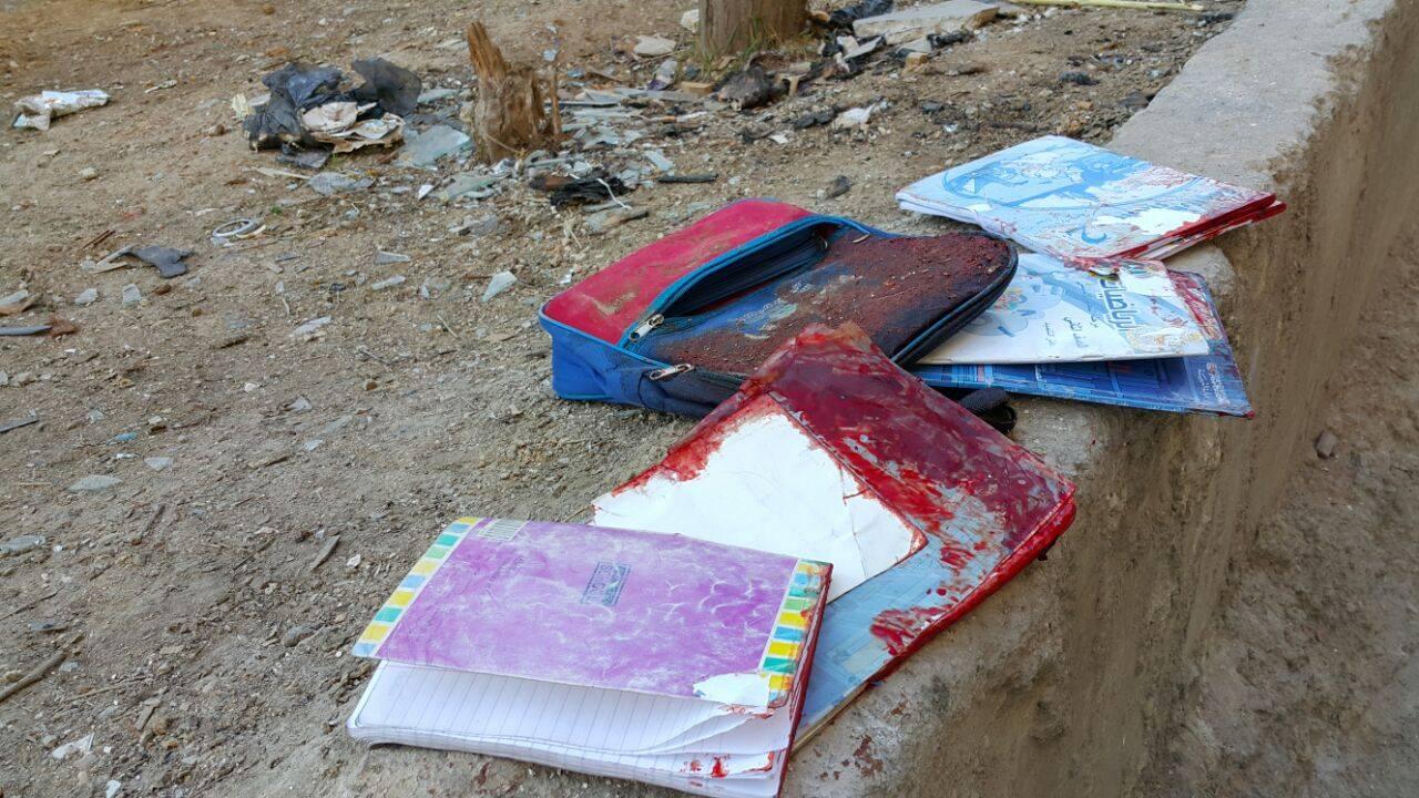 الكتب المدرسية للطفل يامن، والذي قُتل اليوم في الغارات التي استهدفت مدينة دوما