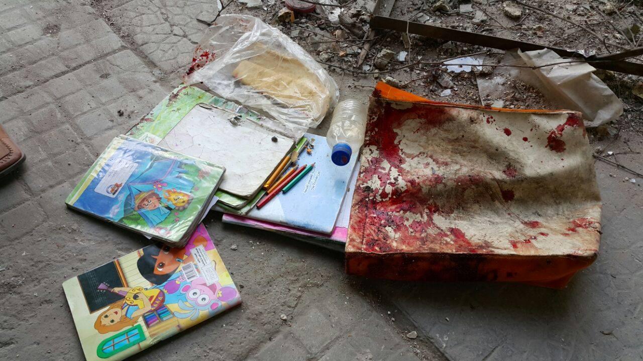 بقايا الكتب المدرسية للطفلين أسامة ويمنى بلله
