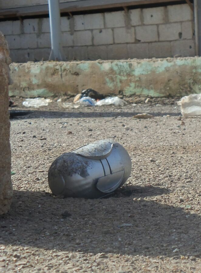 من بقايا الأسلحة العنقودية التي خلفها القصف على طفس