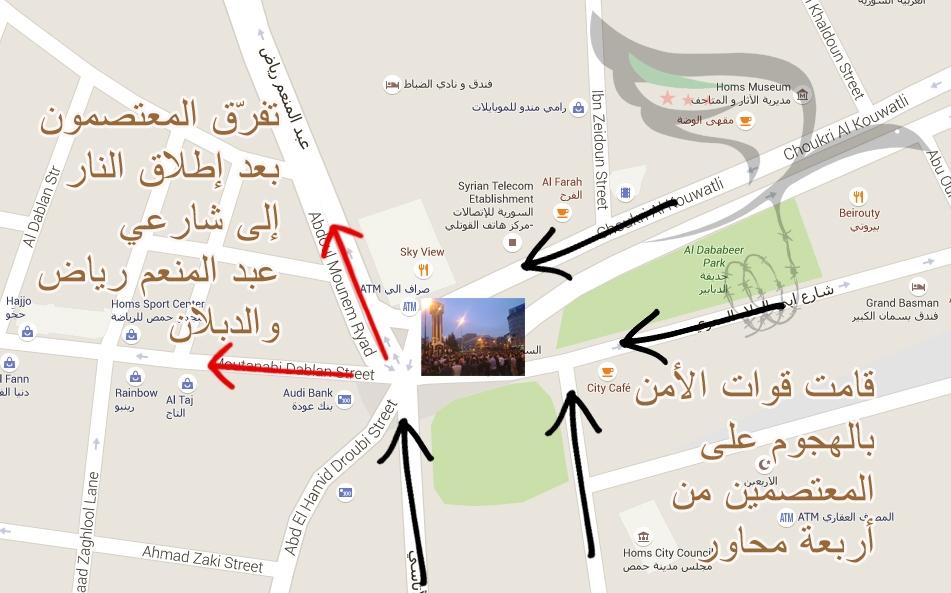 خريطة تظهر النقاط التي بدأت منها قوات الأمن هجومها على المتظاهرين، والشوارع التي استخدمها المعتصمون للخروج من منطقة الاعتصام