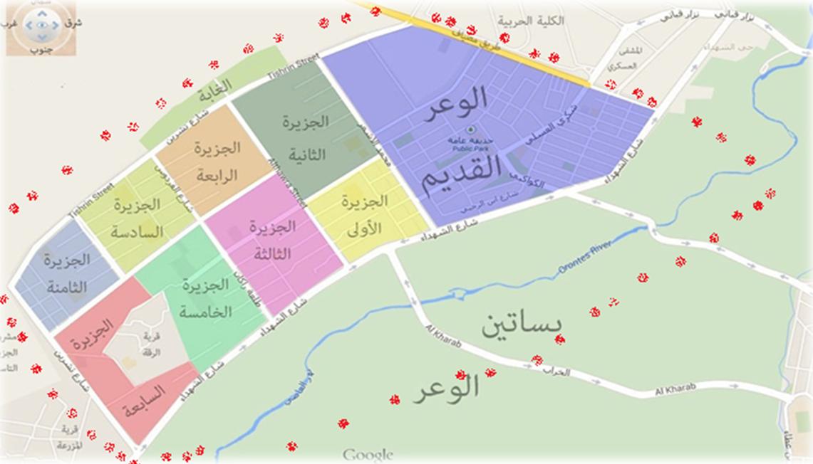 خارطة توضح وضع حي الوعر بعد الحصار وانتشار النقاط العسكرية (بالأحمر في محيطه)