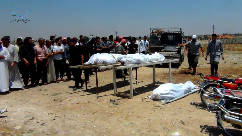 الصلاة على جثث ضحايا مقاتلي المعارضة