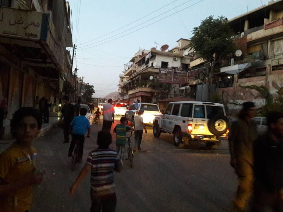 دخول قافلة المساعدات إلى بلدة مضايا