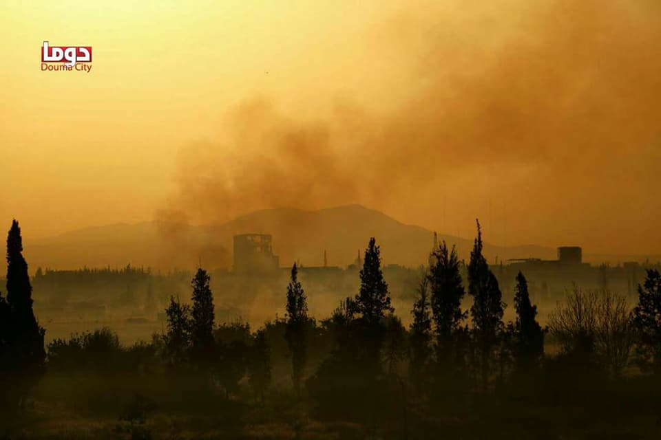 قامت قوات النظام باستهداف الحقول الزراعية في بلدة الريحان في ريف دمشق