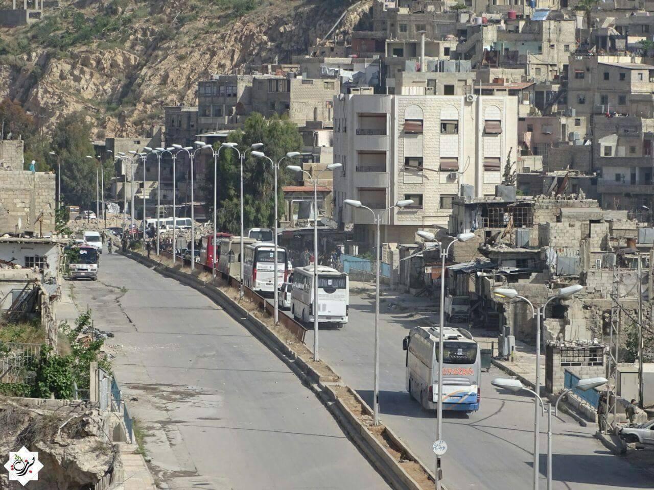 تعدّ عملية التهجير التي بدأت في حي برزة أول عملية تهجير في العاصمة منذ بداية الأزمة في عام 2011