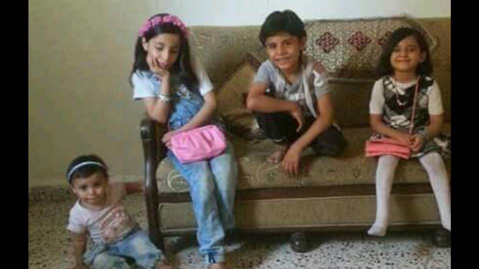 أطفال عائلة الساير، من ضحايا المجزرة
