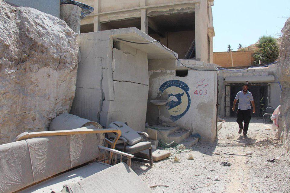 أدّى القصف على مركز خان شيخون إلى إلحاق أضرار مادية متوسطة بالمركز