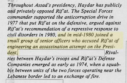 وثيقة صادرة عن وكالة الاستخبارات المركزية الأمريكية CIA في أيلول 1984 تشير إلى اتهام علي حيدر ومجموعة من ضباط الجيش لرفعت الأسد بالتدبير لعملية إغتيال أخيه منتصف العام  1980