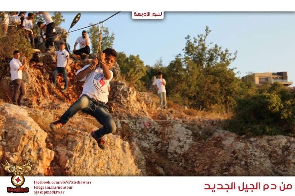 من المنشورات الدعائية للحزب، والتي تروّج التدريبات العسكرية التي يتلقاها الأطفال في صفوف جناحه العسكري، والذي يُسمى نسور الزوبعة