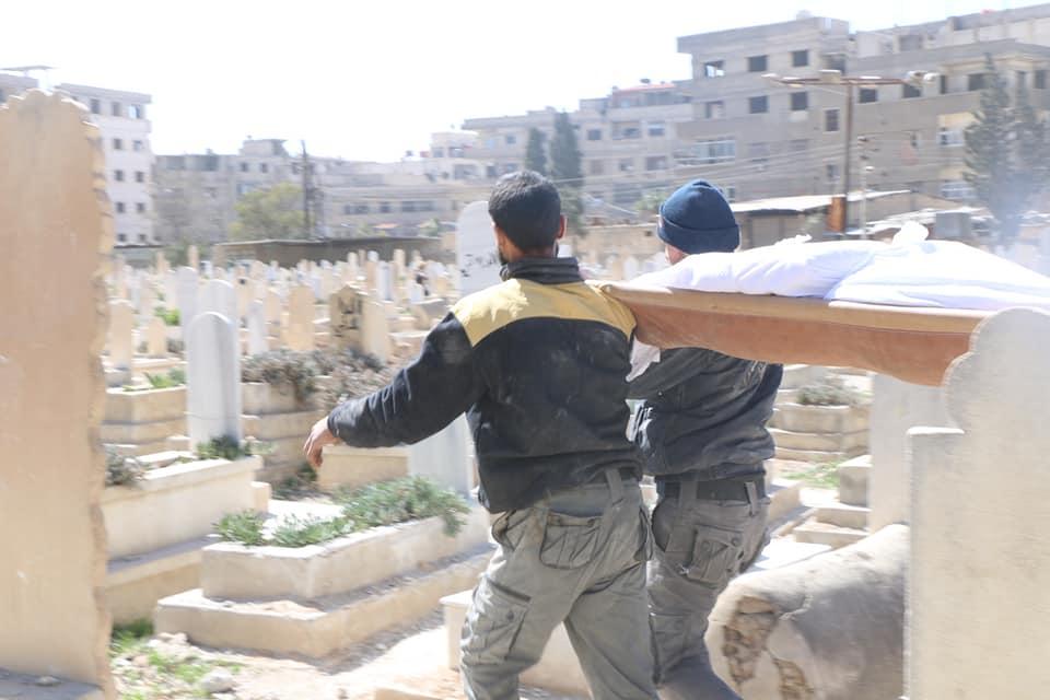 مراسم دفن المتطوع في الدفاع المدني محمد العسعس