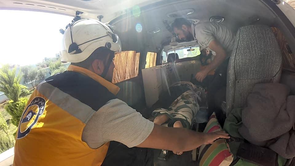 من أعمال إسعاف المصابين في جنوب القطاع الشرقي من ريف درعا