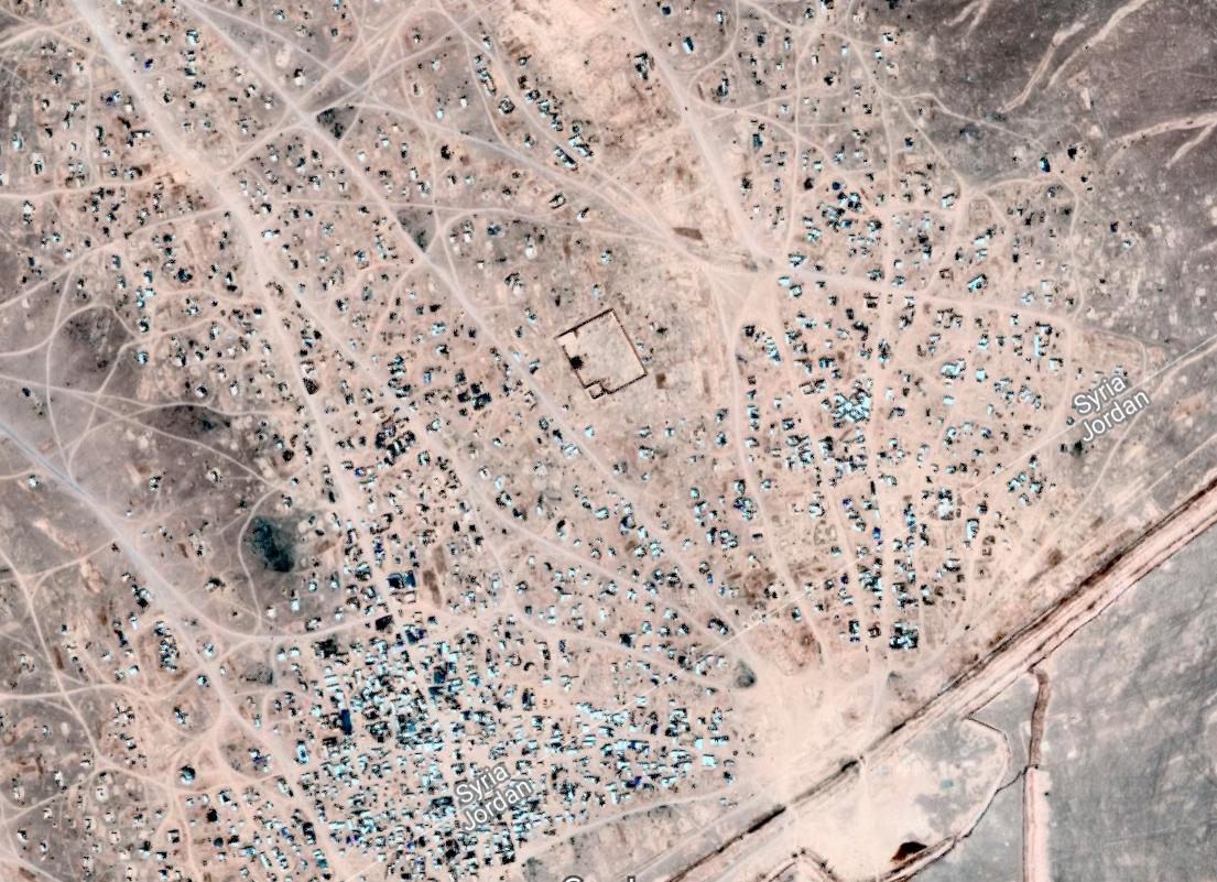 صورة جوية لمخيم الركبان (Google Maps)